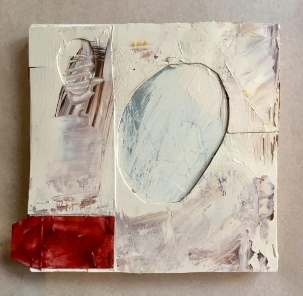 omega, beginning, opening, small works, paint, abstract, paper