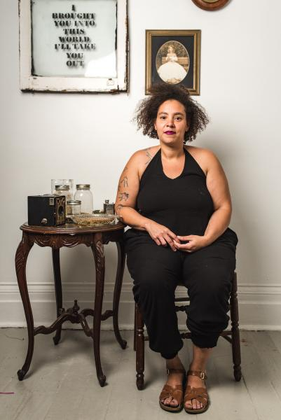 Alisha Wormsely, sitting with the work