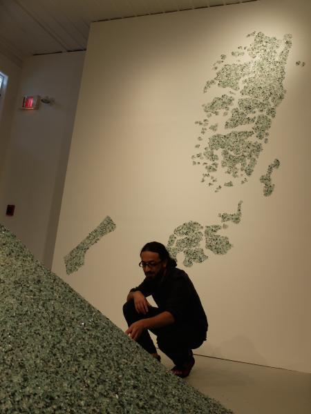 Artists installing work - a fractured Palestine
