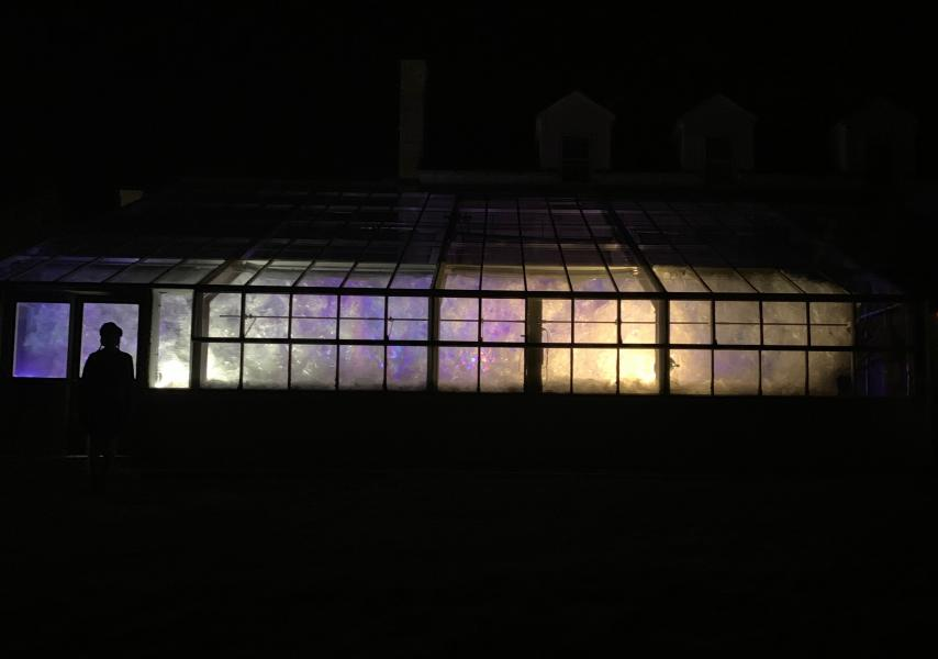 site-specific installation, sculpture, illuminations, greenhouse, Climate Change, eco-art, garden