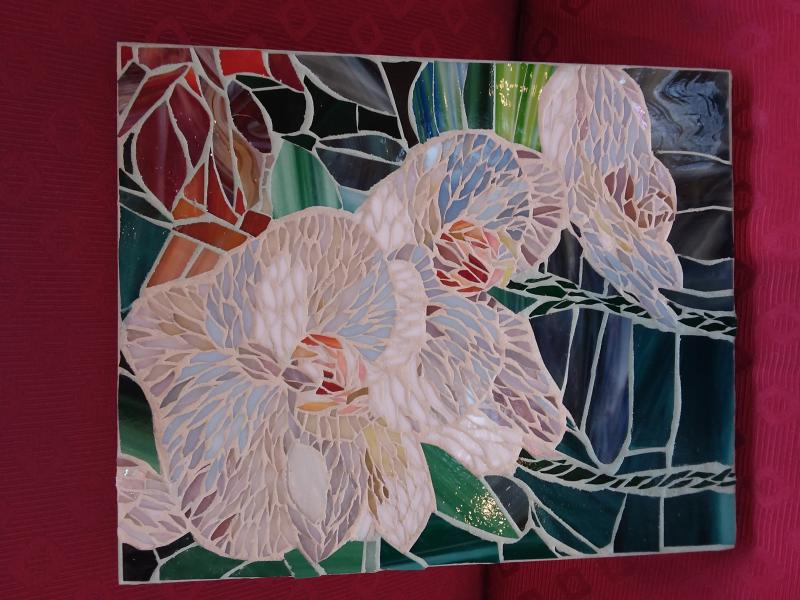 mosaic, stained glass, Yulia, flower