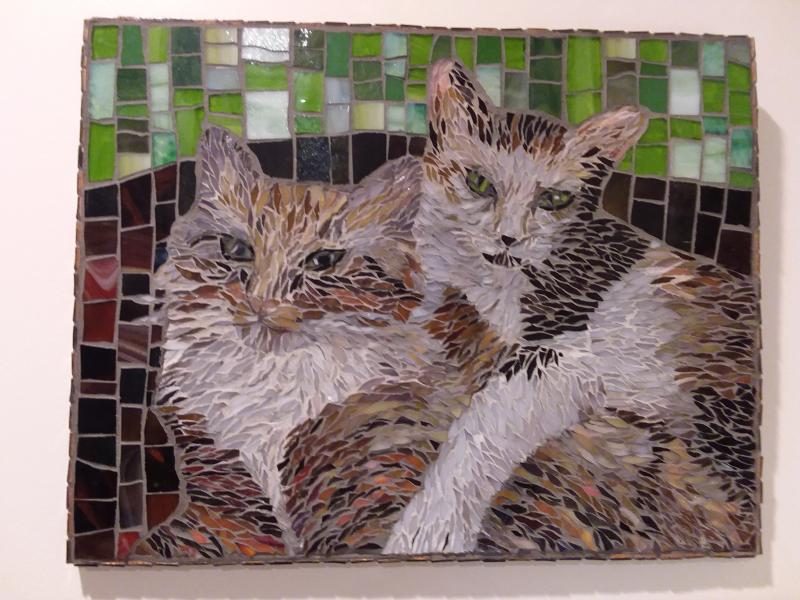 cats, stained glass, painterly, mosaic