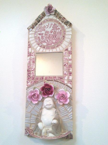 mosaic, pique assiette, mirror, Buddha