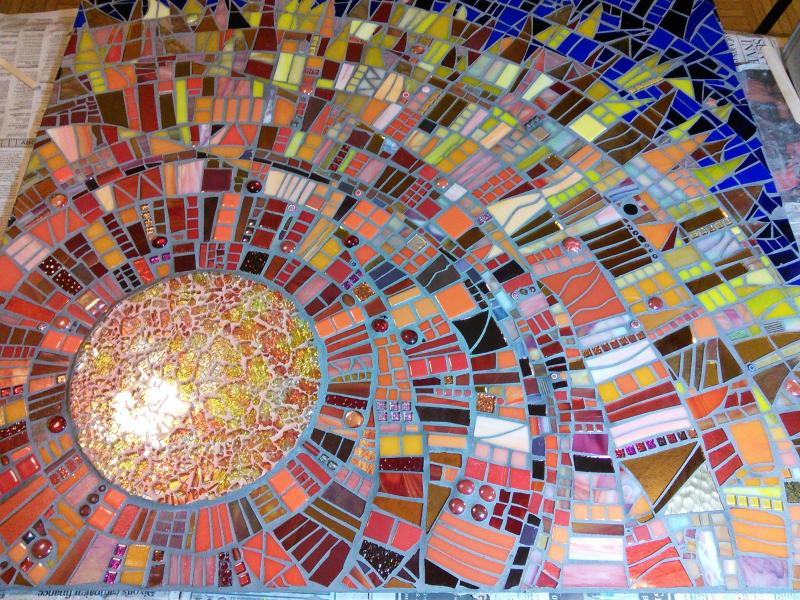 stained glass, mosaic, sun, fire