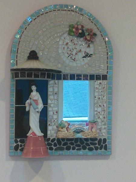 mosaic, pique assiette, mirror, china figure