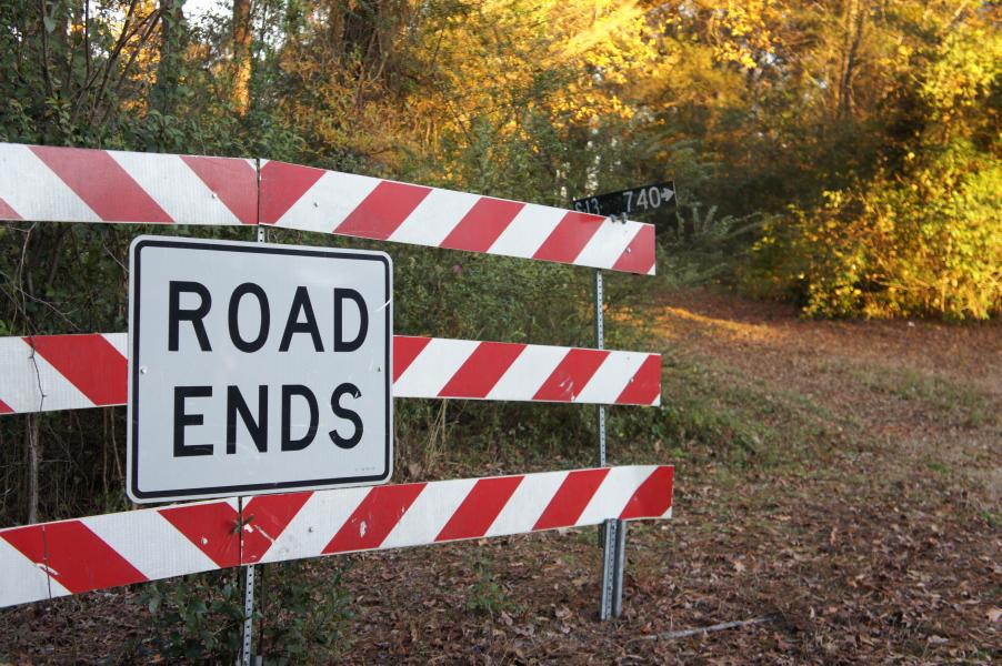 """A """"Road Ends"""" sign with a dirt path beside it, taken by Jennifer N. Shannon"""