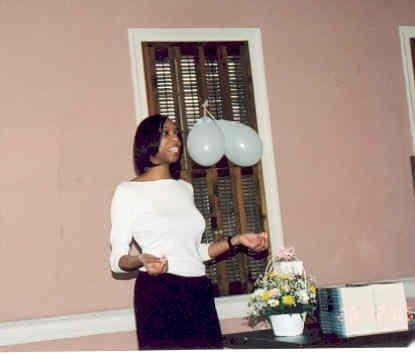 Jennifer N. Shannon standing up, talking to a crowd