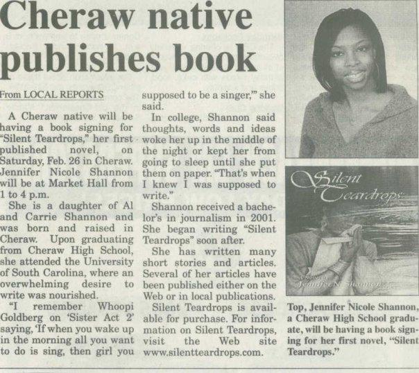 """newspaper clipping that reads """"Cheraw Native Publishes Book."""""""