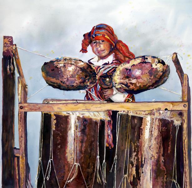 """Antiguan Drummer"", fluid acrylic, figurative, Maryland Artist April M Rimpo"