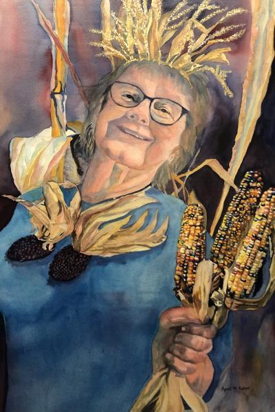 """""""Corn Queen"""", watercolor, figurative, Maryland Artist April M Rimpo"""