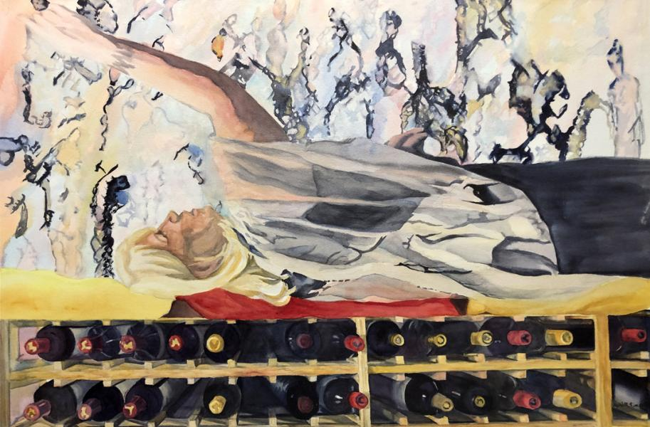 """Dreaming Big"", watercolor, figurative, Maryland Artist April M Rimpo"