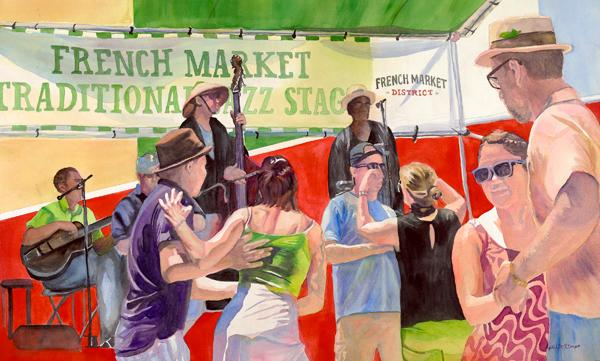 """Let's Dance"", watercolor, figurative, Maryland Artist April M Rimpo"