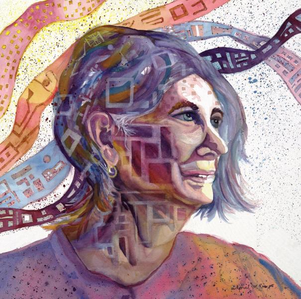 """Transitions: A Self-Portrait"", watercolor, figurative, Maryland Artist April M Rimpo"