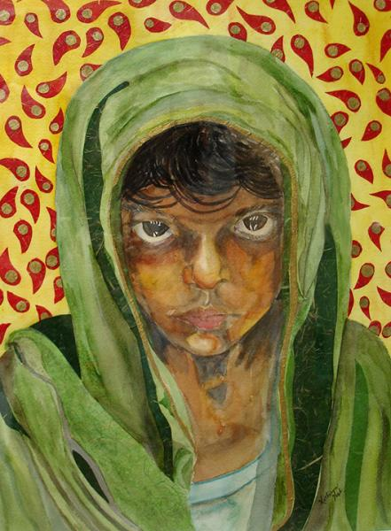 Mixed media piece of a brave young girl in traditional Middle East garments.