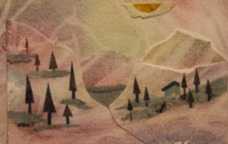 landscape, watercolor, mixed media, miniature, winter, trees