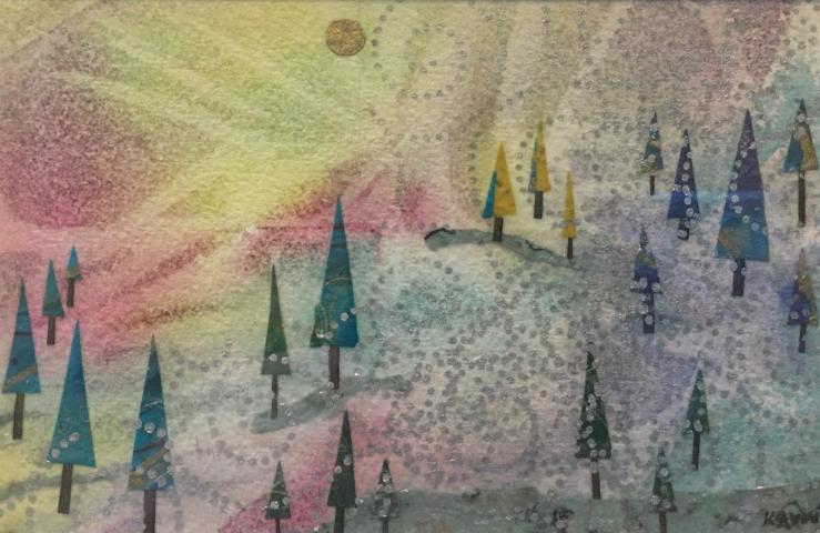 landscape, miniature, mixed media, watercolor, winter, snow