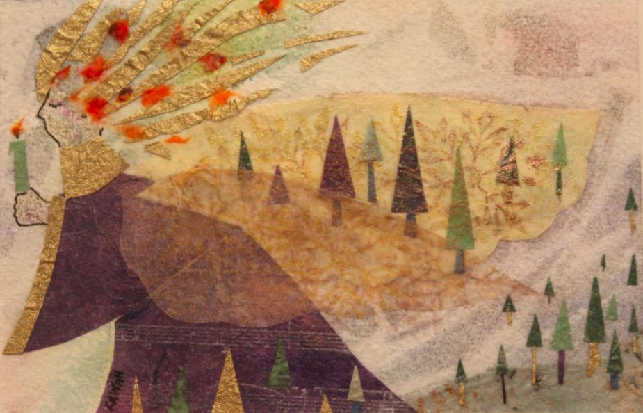 landscape, watercolor, mixed media, miniature, forest, winter