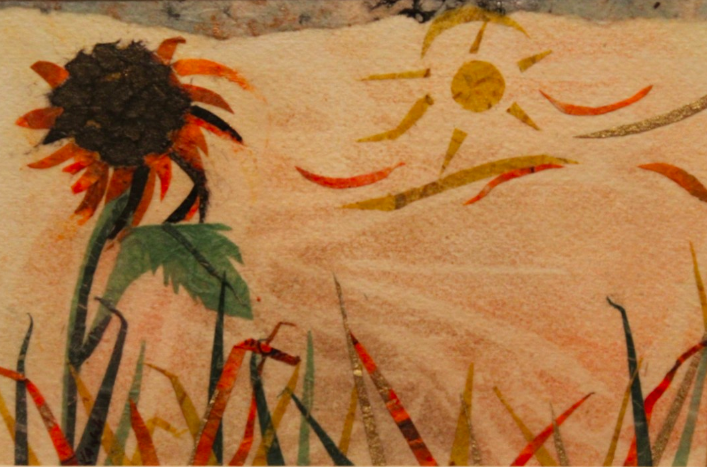 This is a miniature mixed media showing the seasonal change of Summer to Autumn.