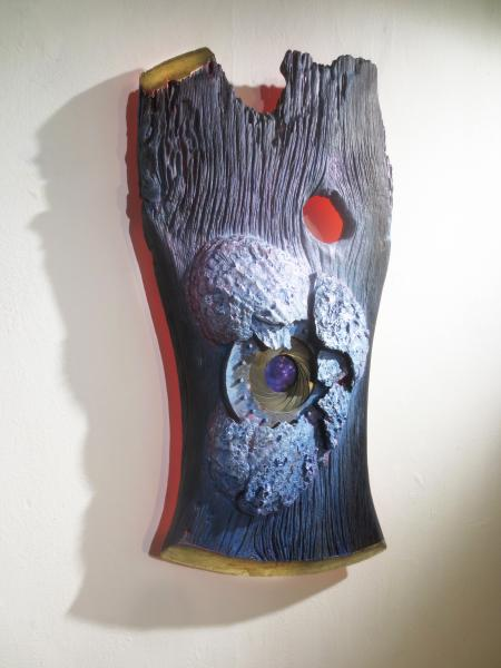 wood, sculpture, assemblage, mixed media, acrylic