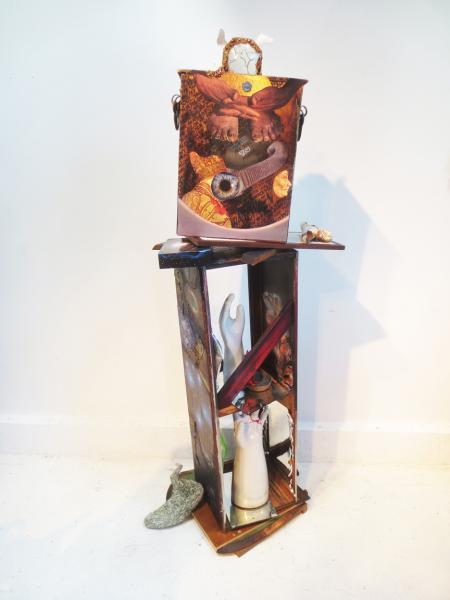 sculpture, mixed media, self portrait.