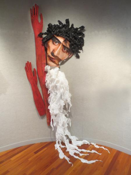sculpture, installation, paper, wood, mixed media.