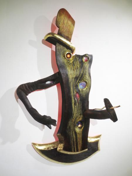 sculpture, wood, mixed media