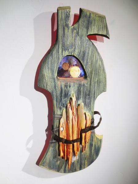 sculpture, mixed media, assemblage, acrylic