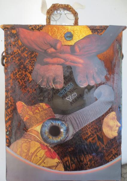 collage, assemblage, wood, mixed media.