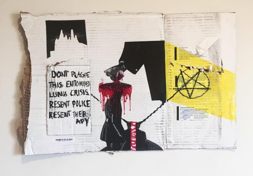 A mixed media artwork made with white cardboard, red wax, a pentagram, and images from Isle of the Dead 1945.