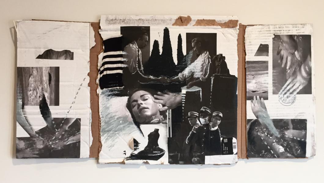 A mixed media artwork made of cardboard, fabric, and cut out images from Isle of the Dead 1945.