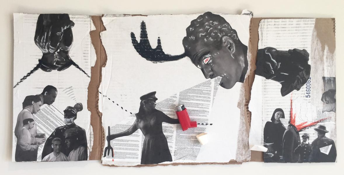 A mixed media artwork made with white cardboard, a red inhaler, and images from Isle of the Dead 1945.