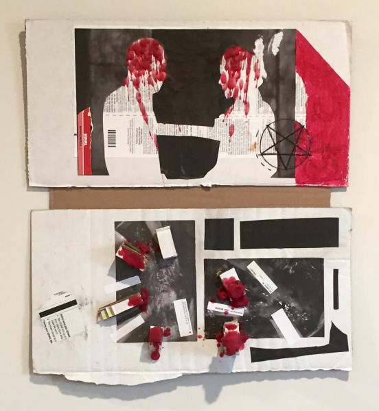 A mixed media artwork made with white cardboard, red wax, pharmaceutical waste, and images from Isle of the Dead 1945.