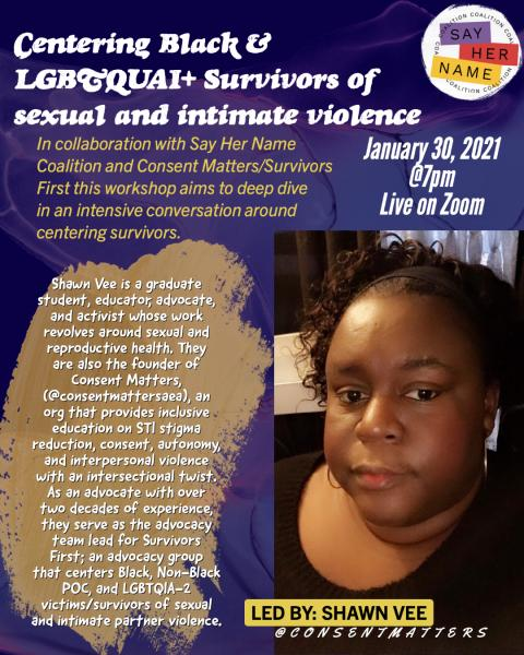 Flier of Black Womyn who will be teaching a workshop for LGBTQUAI Black folks around healing and how to report sexual assault