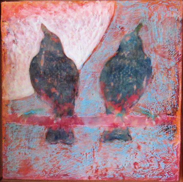 starlings, encaustic