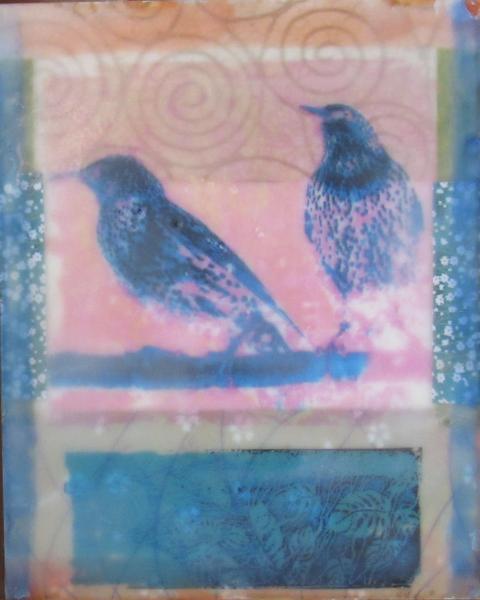 envaustic, 8 x 10, starlings