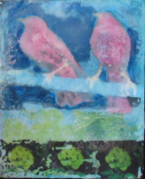 encaustic, starlings, image transfer