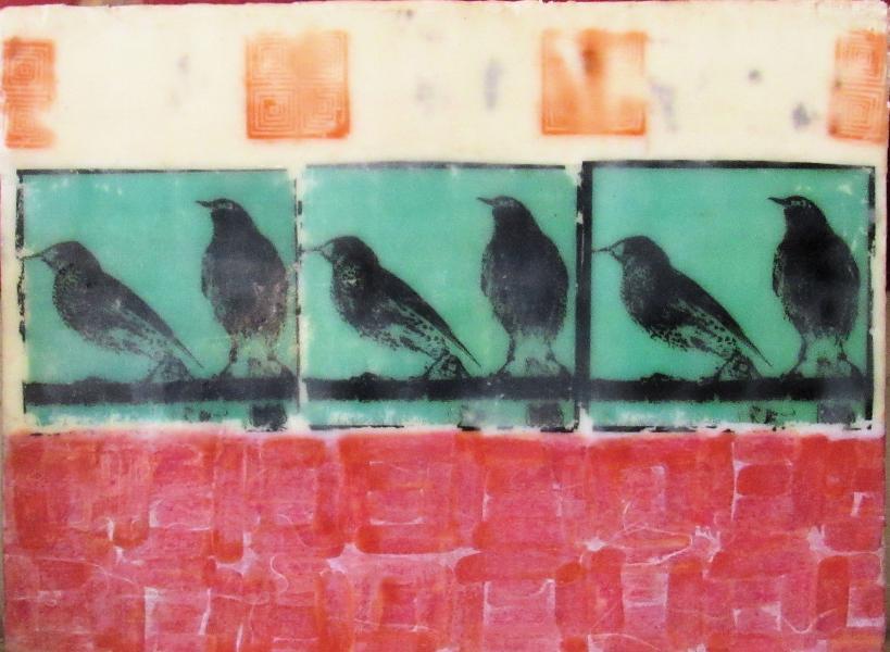 encaustic, starlings