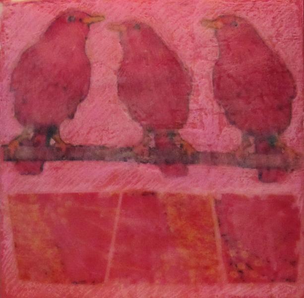 encaustic, starlings, pink