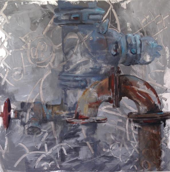 "Oil on Canvas, 24"" x 24"""