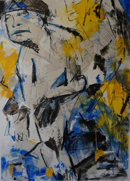 Mixed Media, Blueprints, figure, contemporary, cold wax, abstract painting
