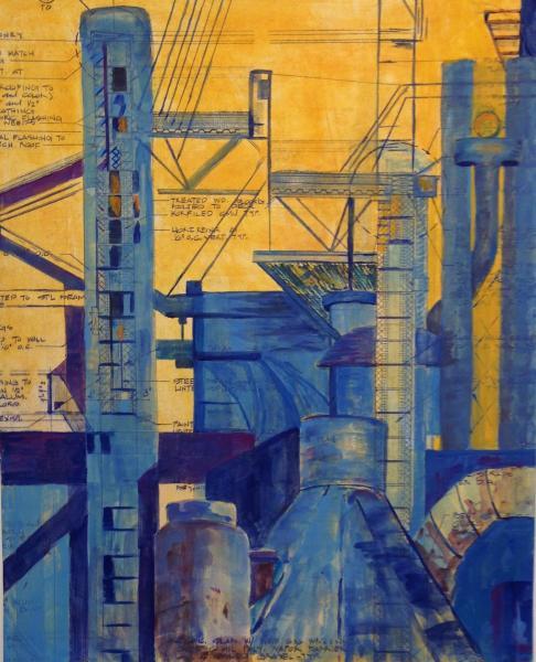 "Gouache, ink on blueprint, 11"" x 14"""