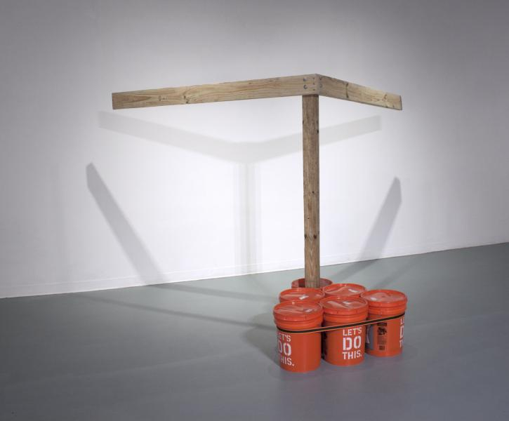 "Advice Taken? | Pressure-Treated Lumber, Homer Buckets, Ratchet Strap, Concrete, and Sand | 105"" x 73"" x 78"" 