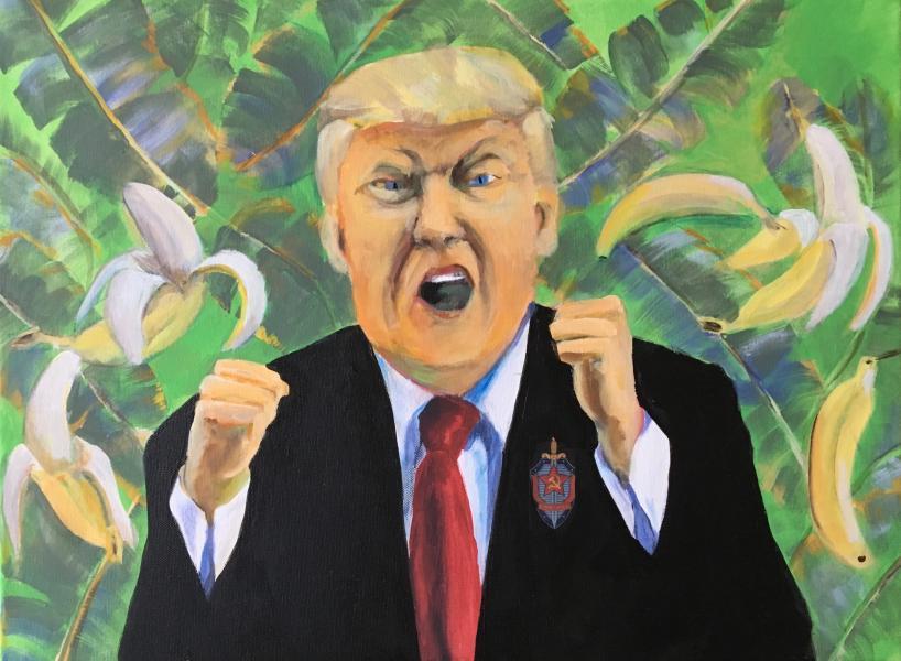 """Banana Republican"" acrylic on canvas 18"" x 24"" ©J. Kelly Lane, 2018"