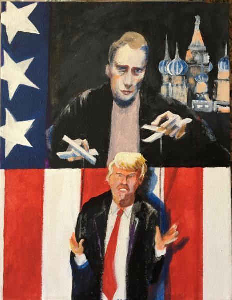 painting, political, portraits,Trump, Putin