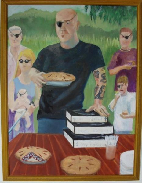 painting, portrait, blind, pies