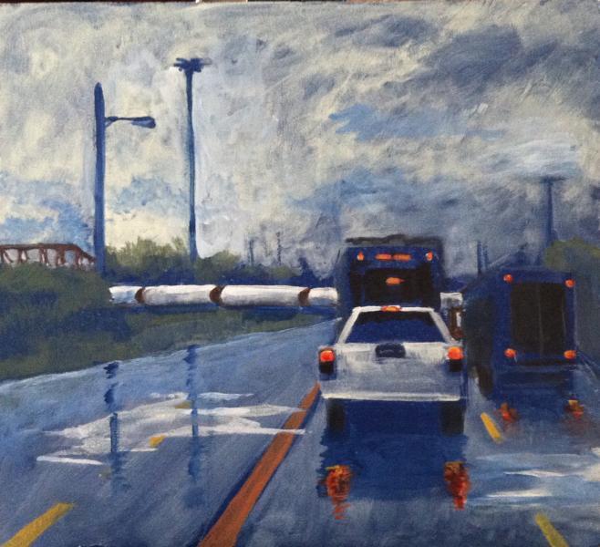 landscape, train, Baltimore, rain