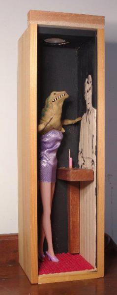 assemblage, mixed media, cigar box, lizard