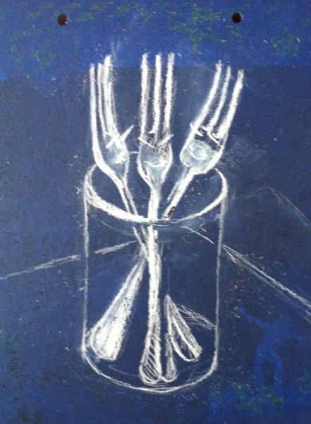 kitchen, forks, pastel, drawing