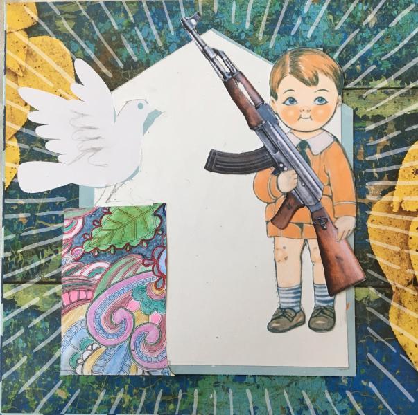 collage, political, children, guns