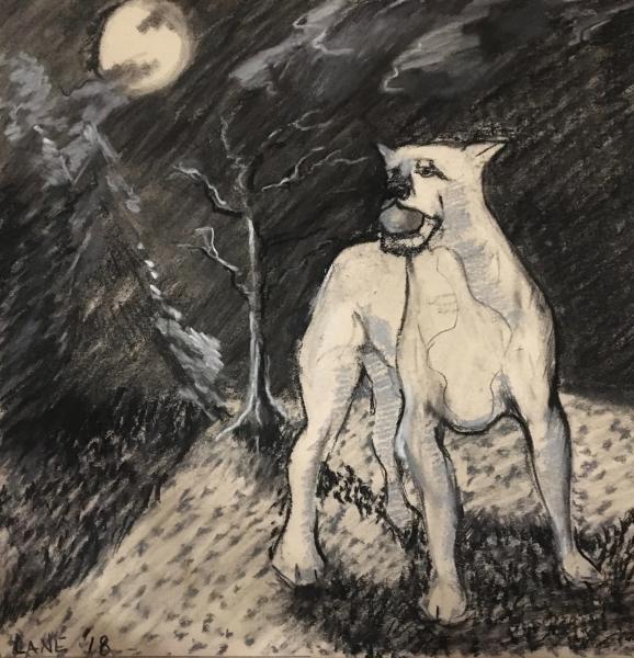 charcoal, pastel, drawing, dog, night, landscape